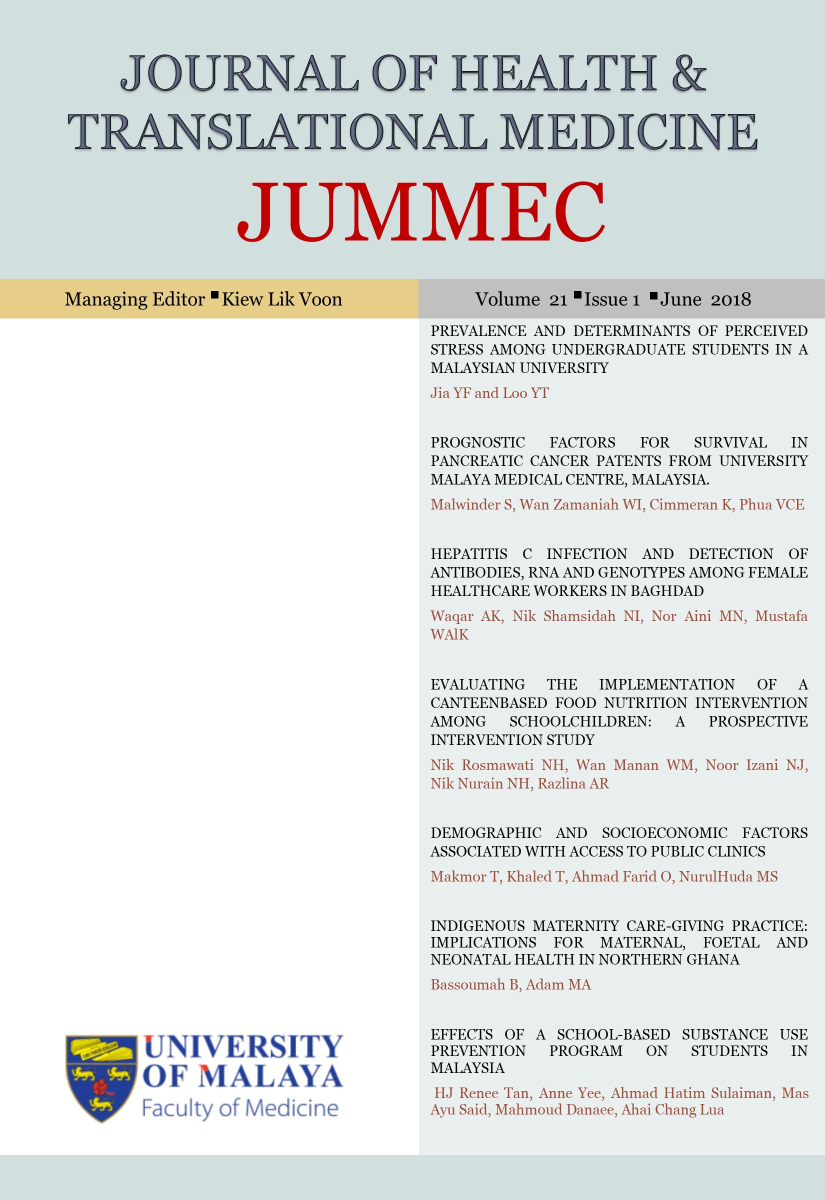 Vol 21 No 1 (2018) | Journal of Health and Translational